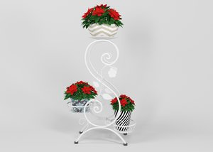 forged floor flower stand 3D model