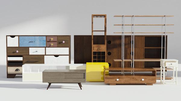 3D drawer set model