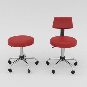 3D model dental doctor nurse chairs