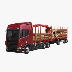 3D generic logging truck trailer