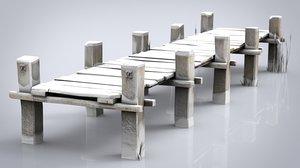 wooden pier winter 3D model