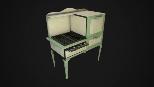 1930s gas stove 3D