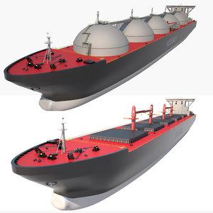 bulk carrier lng tanker ship 3D model