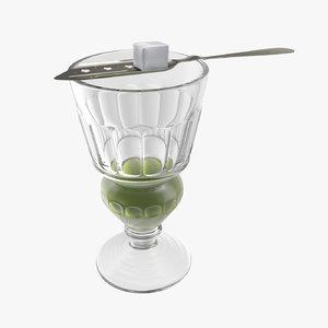 absinthe pontarlier reservoir glass model