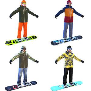3D model snowboarder boards