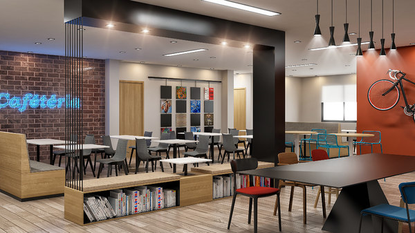 3D interior cafeteria waiting room