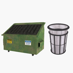 public garbage cans 3D model