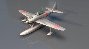 3D nakajima a6m2 floatplane model