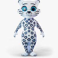 3D model cartoon snow leopard
