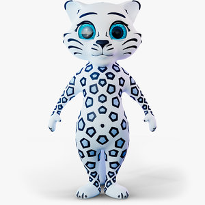 3D model cartoon snow leopard