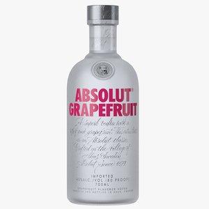 absolut grapefruit vodka bottle 3D model