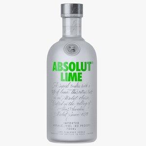 3D absolut lime vodka bottle model