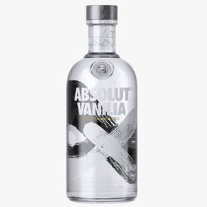 3D absolut vanilia vodka bottle