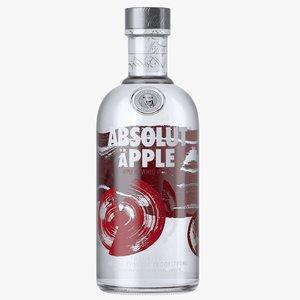 3D absolut apple vodka bottle