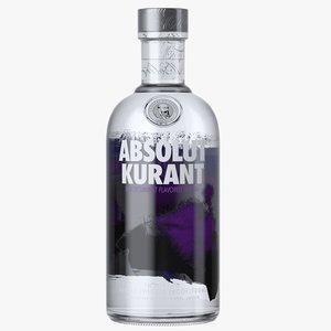 absolut kurant vodka bottle 3D