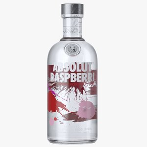 3D absolut raspberri vodka bottle model