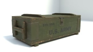 3D model military box low-poly