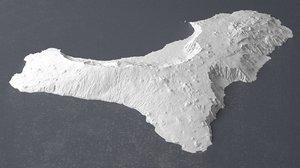 3D elevation island hierro terrain model