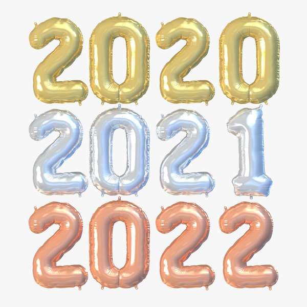 3D new year numbers ballons