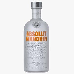 3D absolut mandrin vodka bottle
