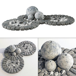 flowerbed stone sphere 3D model