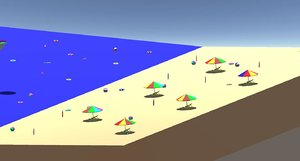simple cartoon beach 3D model