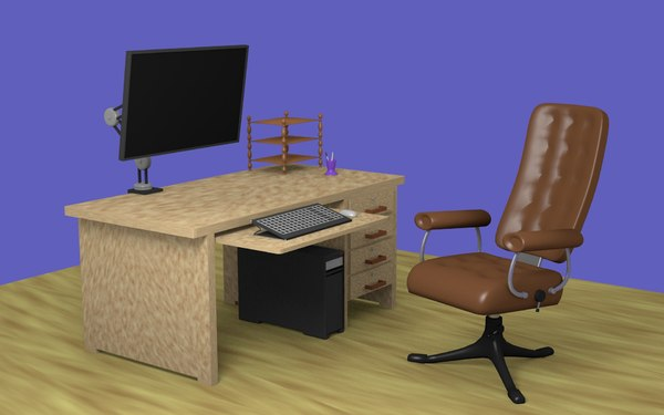 3D model chair monitor keyboard