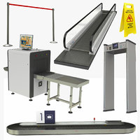 realistic airport interior equipment model