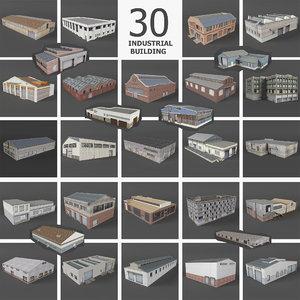 30 industrial building warehouse 3D model