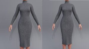3D turtleneck bodycon dress