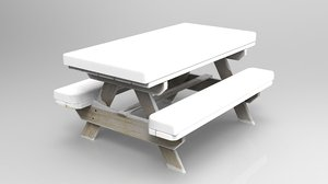 3D camping wood table winter model