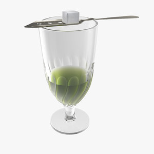 3D absinthe swirl glass spoon