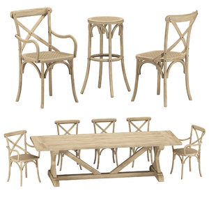chair dining table 3D