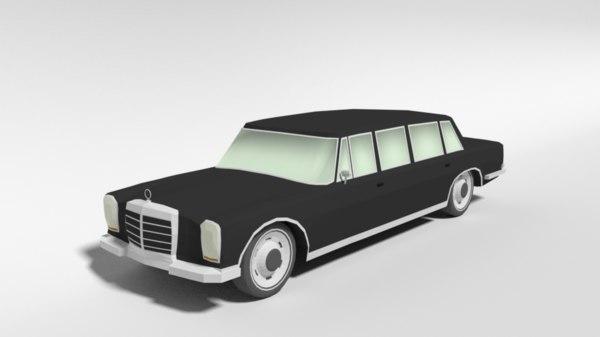 3D retro limousine car