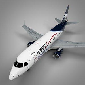 3D aeromexico embraer170 l388 model