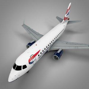 3D model britsh airways embraer170 l390