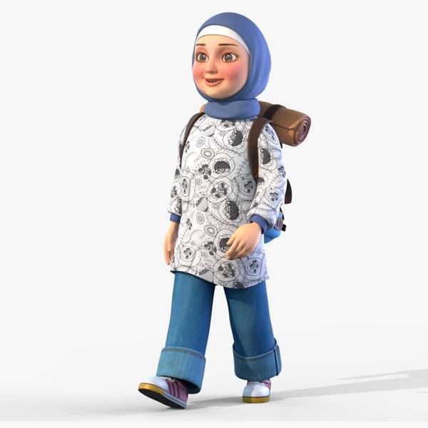 3D cartoon girl rigged animates
