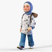 Rigged Animated Cartoon Girl with Hijab