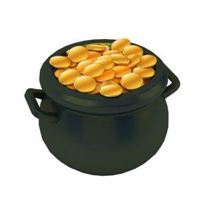 3D cartoon pot gold