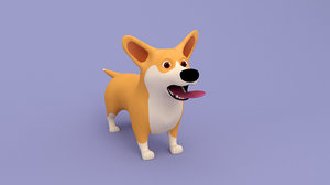 3D model cute cartoon corgi dog
