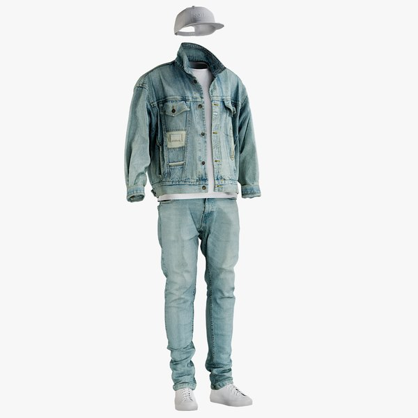 jeans jacket tshirt 3D