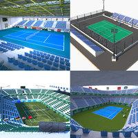 3D tennis court 2 model