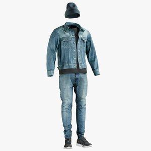 3D jeans jacket tshirt