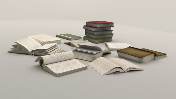 3D model books open texts