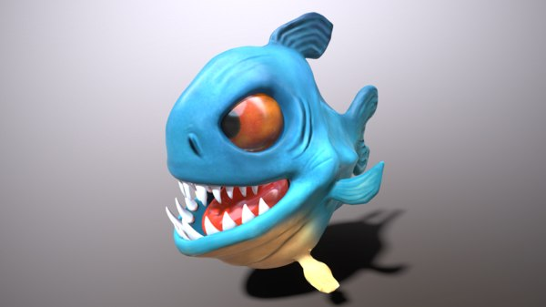 3D piranha cartoon art model