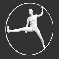 male mannequin circle ring 3D model