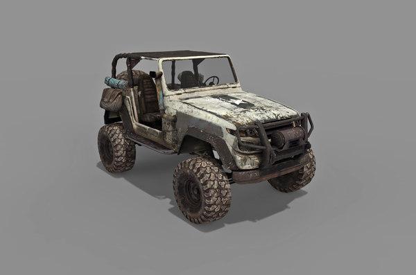 3D old jeep car model