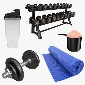 gym dumbbell rack 3D model