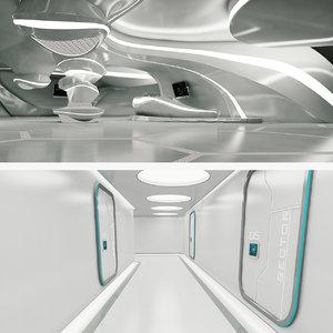 scifi interior corridor 3D model