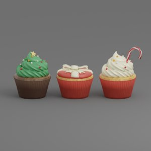 3D cake cup christmas model